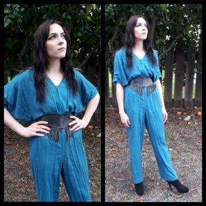 Fabulous vintage 80's rayon and linen jumpsuit!